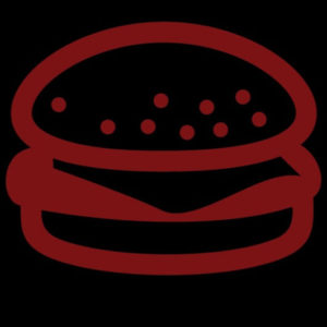 Red lined burger icon